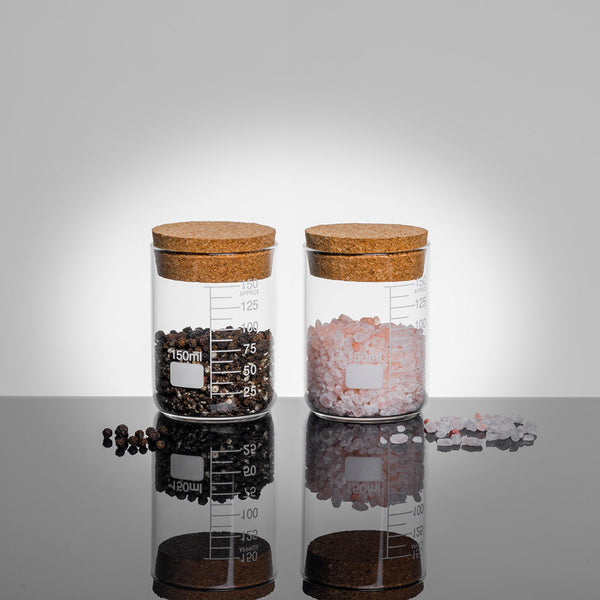 LAB Glass Beaker 150ml Storage Jar Duo Set with Cork Lid filled with Salt and pepper | Quirky Glass Storage Jars | Collett and Holder Gifted Living