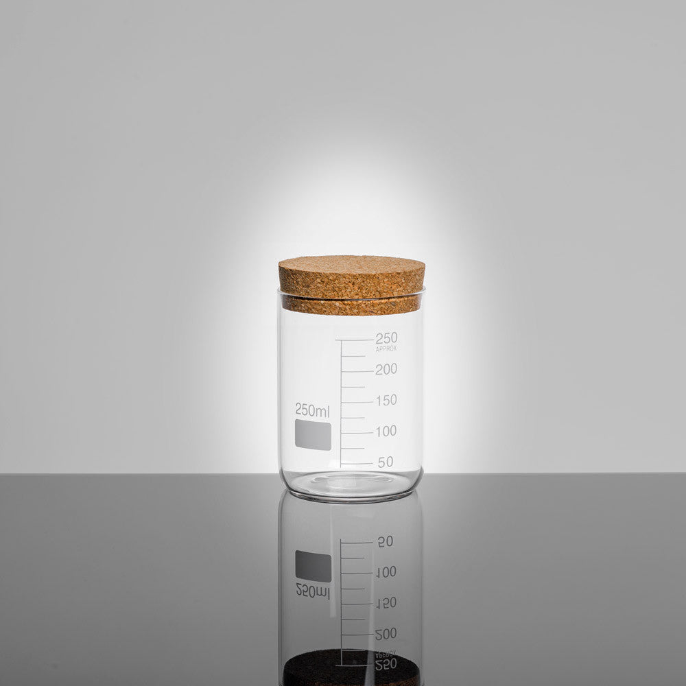 LAB Glass Beaker 250ml Storage Jar with Cork Lid | Quirky Glass Storage Jars | Collett and Holder Gifted Living