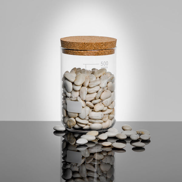 LAB Glass Beaker 500ml Storage Jar with Cork Lid filled with beans | Quirky Glass Storage Jars | Collett and Holder Gifted Living