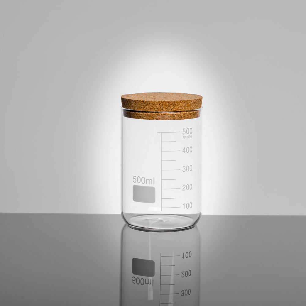 LAB Glass Beaker 500ml Storage Jar with Cork Lid | Quirky Glass Storage Jars | Collett and Holder Gifted Living