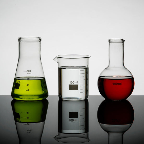 Set of 3 LAB mini 100ml Glass Science Flasks | Quirky Glassware Tableware | Collett and Holder Gifted Living
