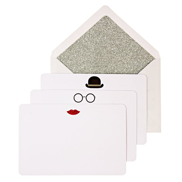 Meri Meri Hat Glasses Lips Note Cards | Unusual Notecards | Collett & Holder Gifted Living