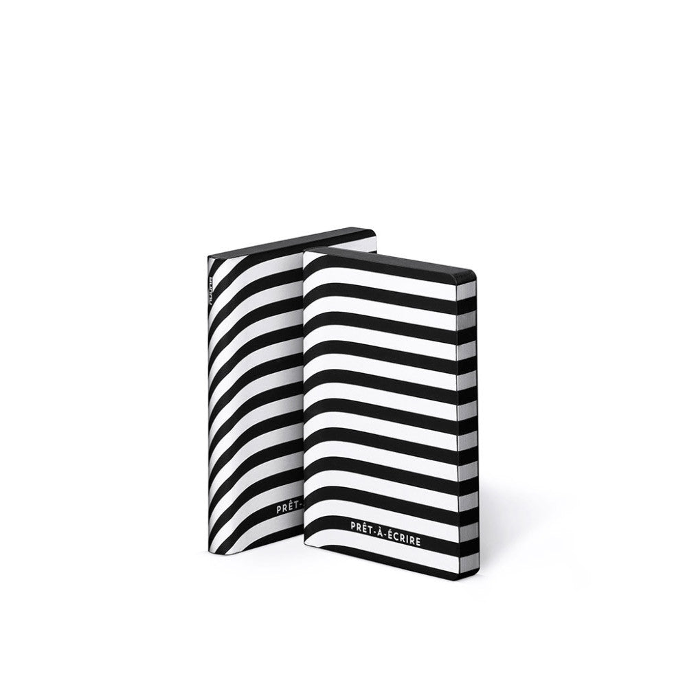 Monochrome Stripe Leather A6 Notebook | Nuuna | Premium Stationary | Collett & Holder