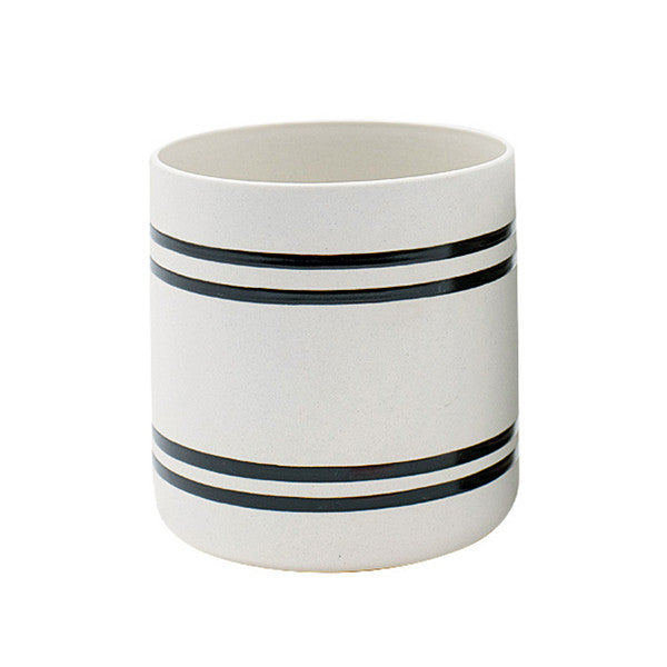 Wide Stripe Scandi Ceramic Plant Pot | Collett and Holder Gifted Living