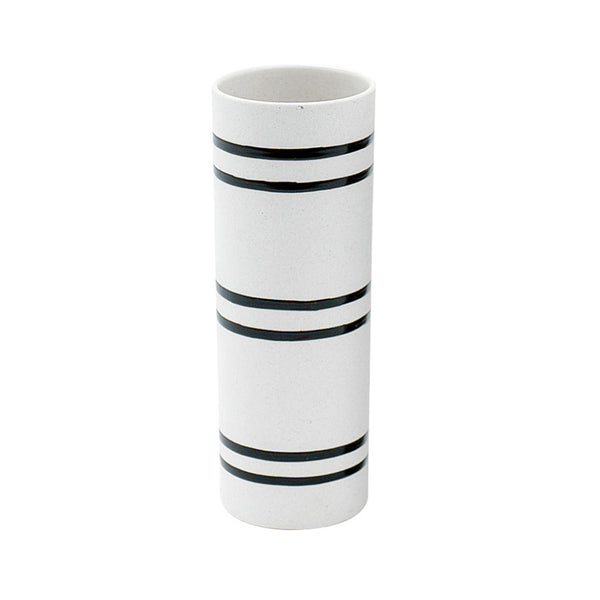 Wide Stripe Scandi Ceramic Slim Vase in White and Black | Collett and Holder Gifted Living