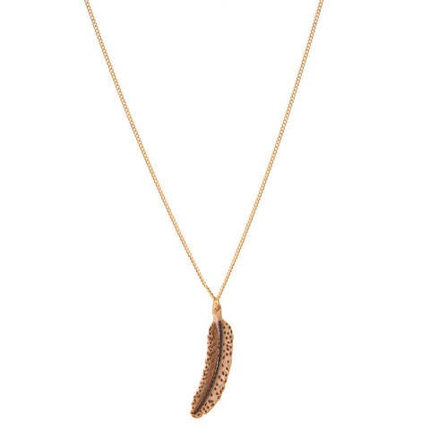 Porcelain Brown Feather Necklace Detail | And Mary Jewellery | Quirky jewellery | Collett and Holder Gifted Living