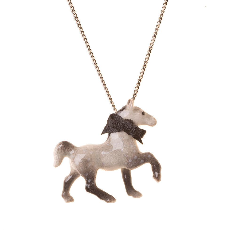 Porcelain Grey Horse Necklace | And Mary Jewellery | Quirky jewellery | Collett and Holder Gifted Living