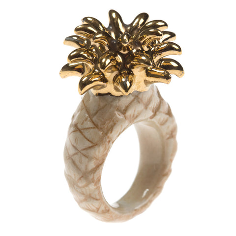Porcelain Pineapple Gold Leaf Ring | And Mary Jewellery | Collett and Holder