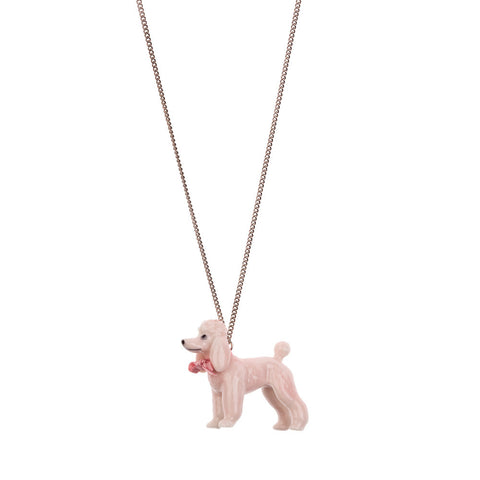 Porcelain Large Pink Poodle Necklace Detail | And Mary Jewellery | Quirky Jewellery | Collett and Holder Gifted Living
