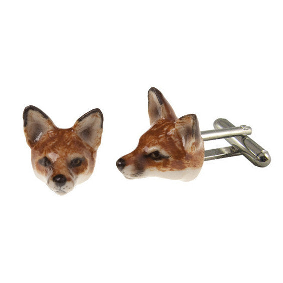 Porcelain Sly Fox Cufflinks | And Mary | Mens Gift Idea | Collett and Holder