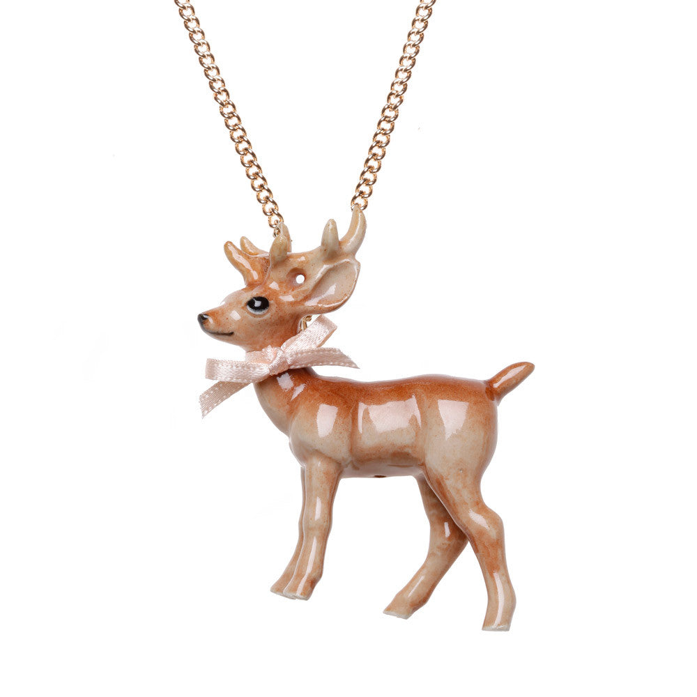 Porcelain Large Stag Necklace | And Mary Jewellery | Unique Jewellery | Collett and Holder Gifted Living