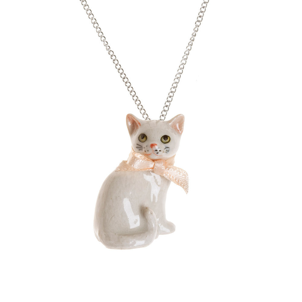 Porcelain White Cat Necklace | And Mary Jewellery | Collett and Holder