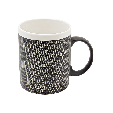 Ceramic Scandi Crosshatch Mug Black and White | Collett and Holder Gifted Living