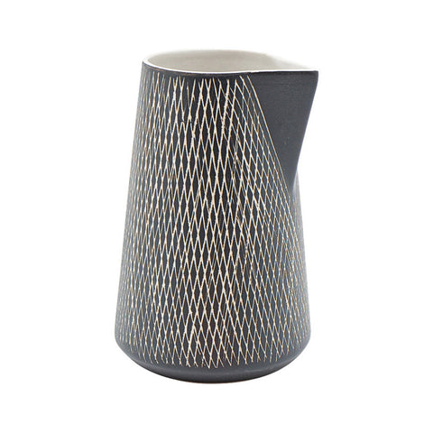 Ceramic Crosshatch Scandi Jug - Black and White | Collett and Holder Gifted Living