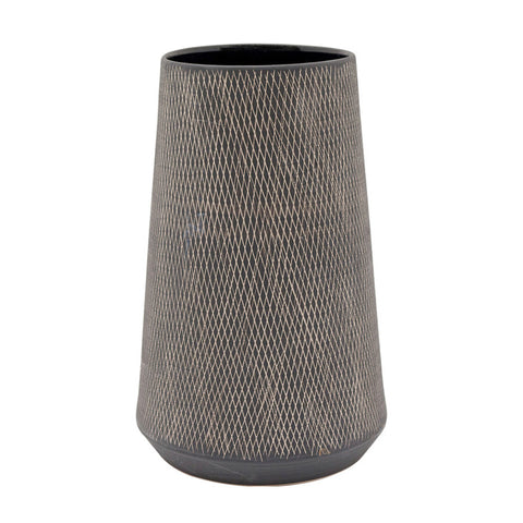 Ceramic Scandi Crosshatch Vase Large Black and White | Unique Quriky Vase | Collett and Holder Gifted Living