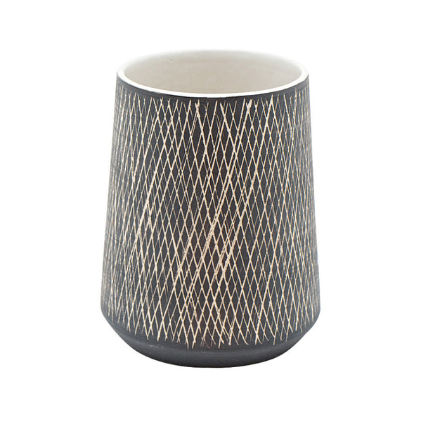 Ceramic Scandi Crosshatch Vase Small Black and White | Unique Quriky Vase | Collett and Holder Gifted Living
