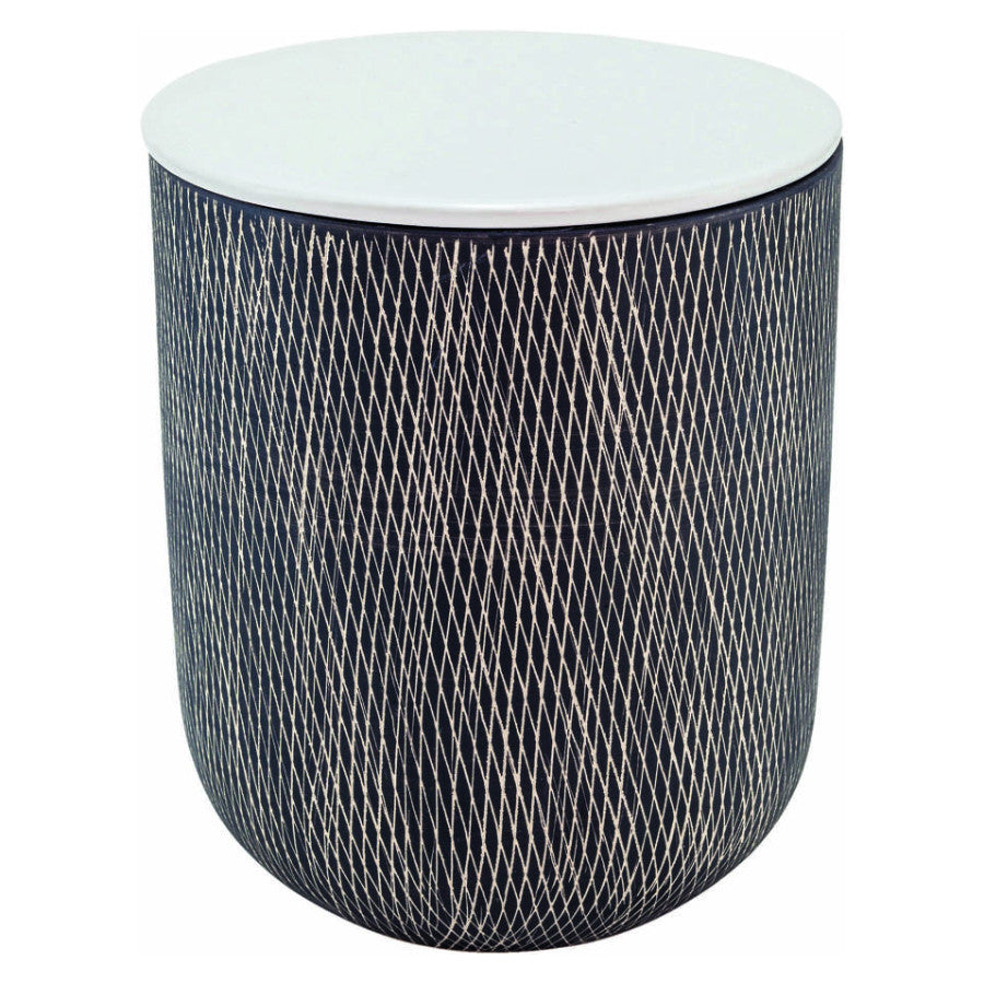 Ceramic Crosshatch Storage Jar Large - Black and White | Scandi Storage Jar and Containers | Collett and Holder Gifted Living