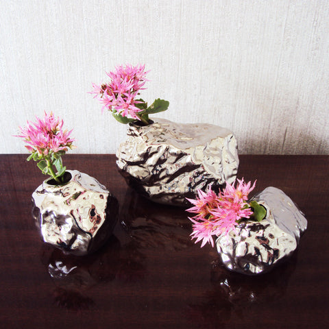 ALU Chrome Rock Bud Vase Trio Collection | Chive Collection | Collett and Holder - Gifted Living