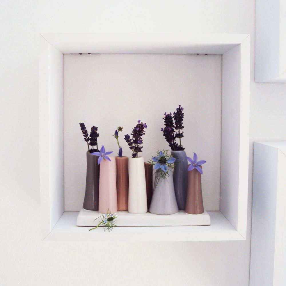 Ceramic 8 -Tube Bud Vase pastels flower lifestyle | Pooley Chive | Collett & Holder - Gifted Living
