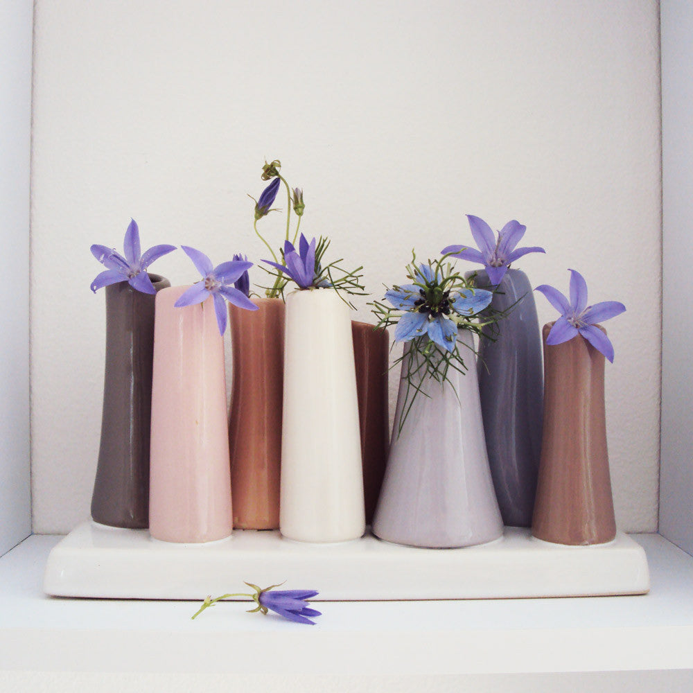 Ceramic 8 -Tube Bud Vase Pastels Flower Lifestyle Cube | Pooley Chive | Collett & Holder - Gifted Living