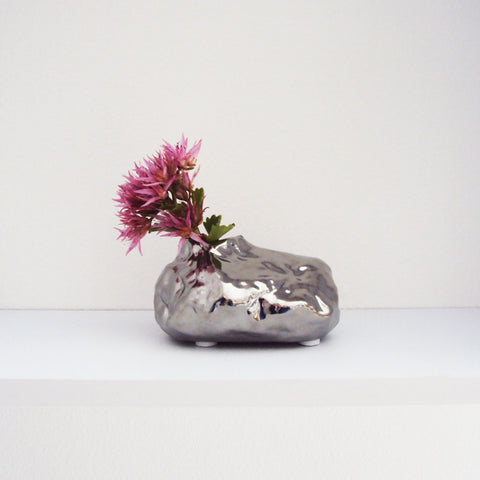 ALU Chrome Rock Vase Medium | Quirky Vases Chive | Collett & Holder - Gifted Living