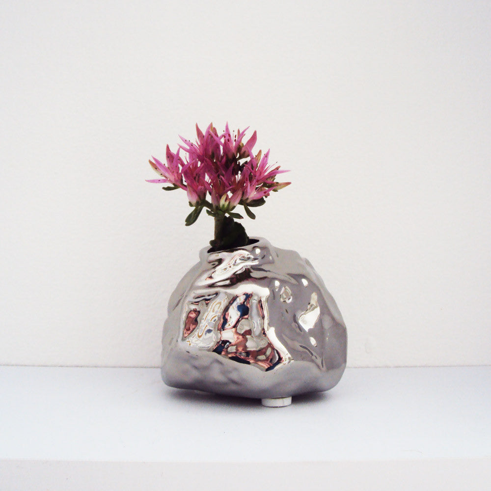 ALU Chrome Rock Vase small on Shelf | Quirky Vases Chive | Collett & Holder - Gifted Living