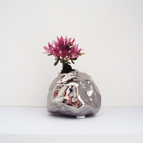 ALU Chrome Rock Vase Small | Quirky Vases Chive | Collett & Holder - Gifted Living
