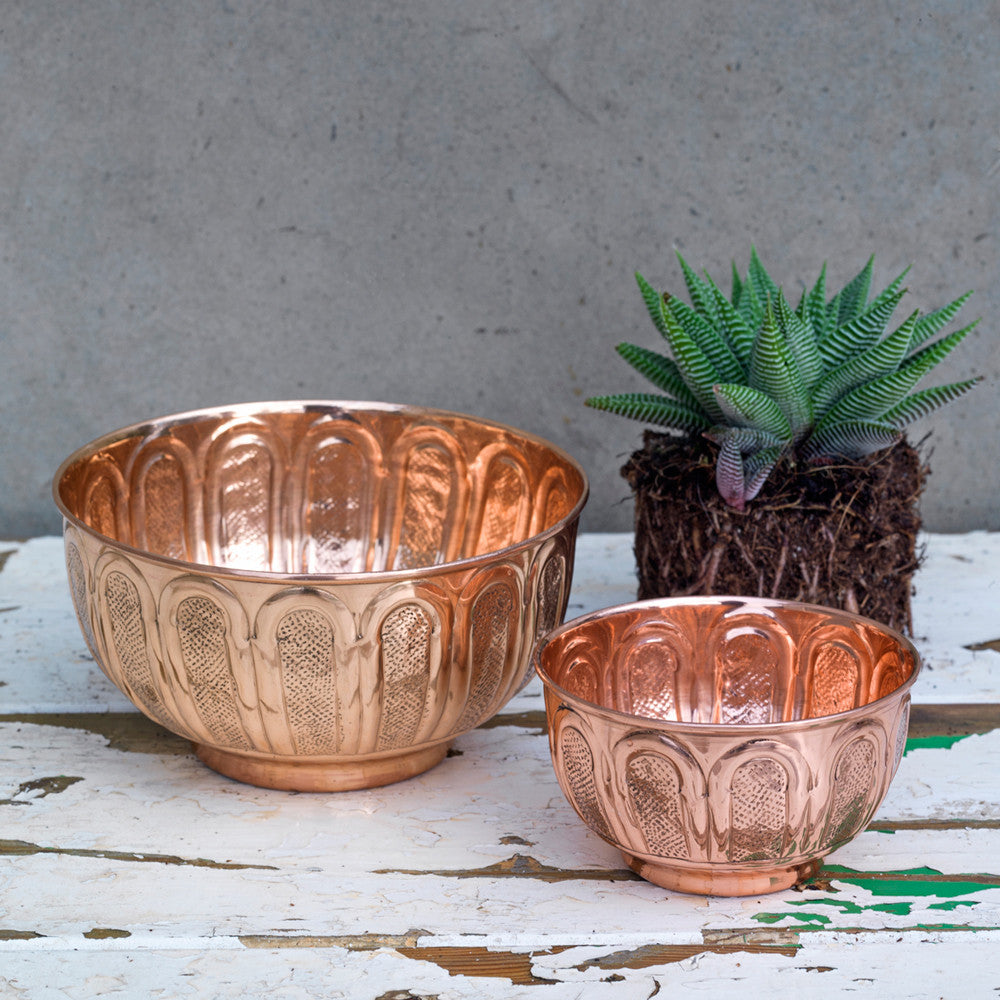 Dassie Artisan Afra Handmade Copper Bowl Set of 2 | Handcrafted embossed decorative bowls | Collett and Holder Gifted Living
