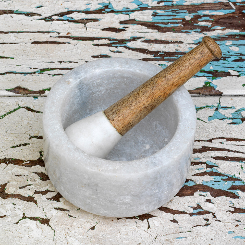 Dassie Makrana Marble and Mango Wood Pestle and Mortar | Handmade and Eco-friendly Kitchen accessories | Collett and Holder - Gifted Living