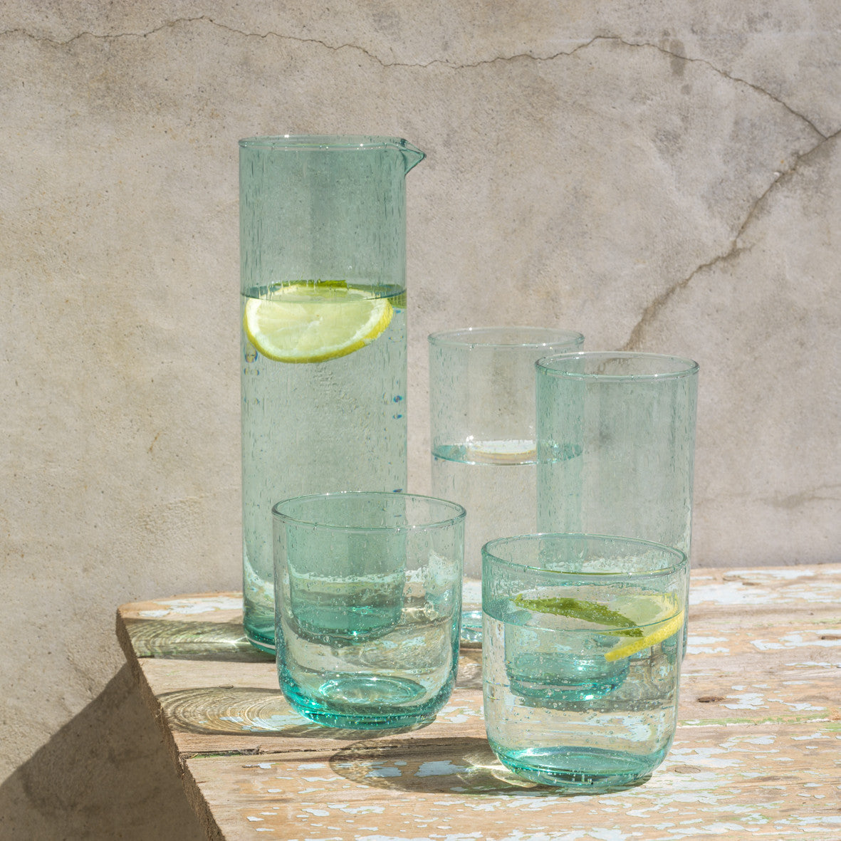 Dassie Neela Hi Ball Glass Carafe Turquoise Collection | Hand Blown Glass Carafe | Collett and Holder Gifted Living
