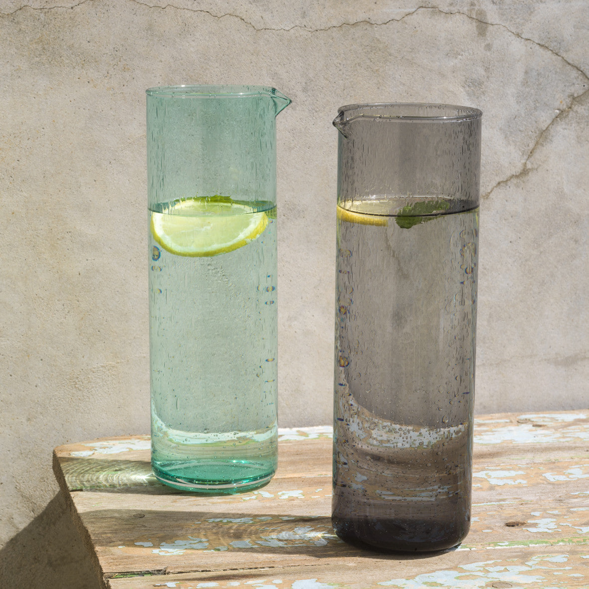 Dassie Neela Hi Ball Bubble Glass Carafe Grey | Hand Blown Glass Carafe | Collett and Holder Gifted Living