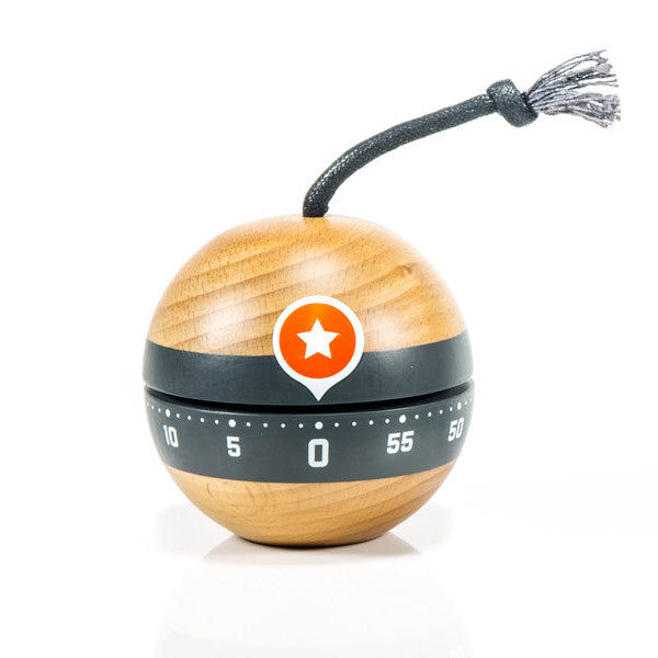 KABOOM Beech Wood Kitchen Timer | Suck UK | Collett & Holder Gifted Living