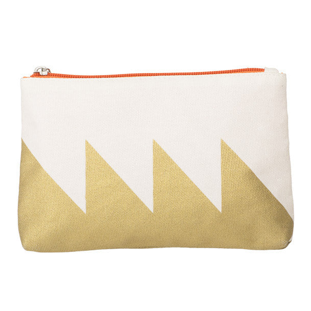 Gold Zig Zag Canvas Cosmetic Bag | NY-LON Everyday Goods | Collett & Holder - Gifted Living