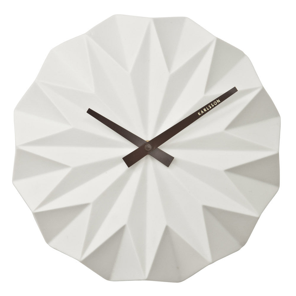 Origami Ceramic Wall Clock Front | Karlsson | Present Time | Collett & Holder Gifted Living | Quirky Clocks