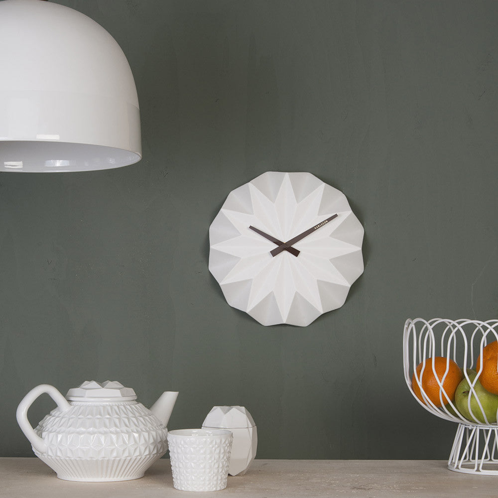 Origami Ceramic Wall Clock | Karlsson | Present Time | Collett & Holder Gifted Living | Quirky Clocks