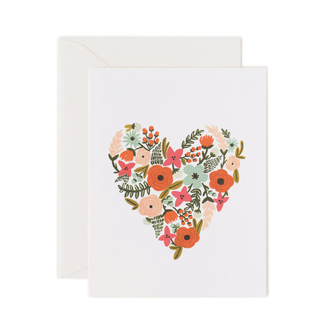Floral Heart Blank Note Card | Rifle Paper Co | Unusual Stationery | Collett & Holder