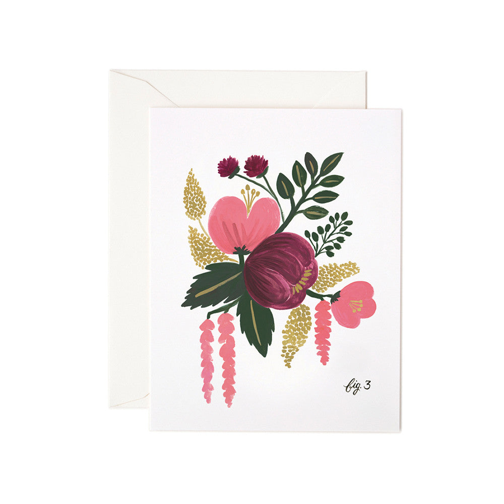 Raspberry Floral Blank Note Card | Rifle Paper Co | Unusual Stationery | Collett & Holder