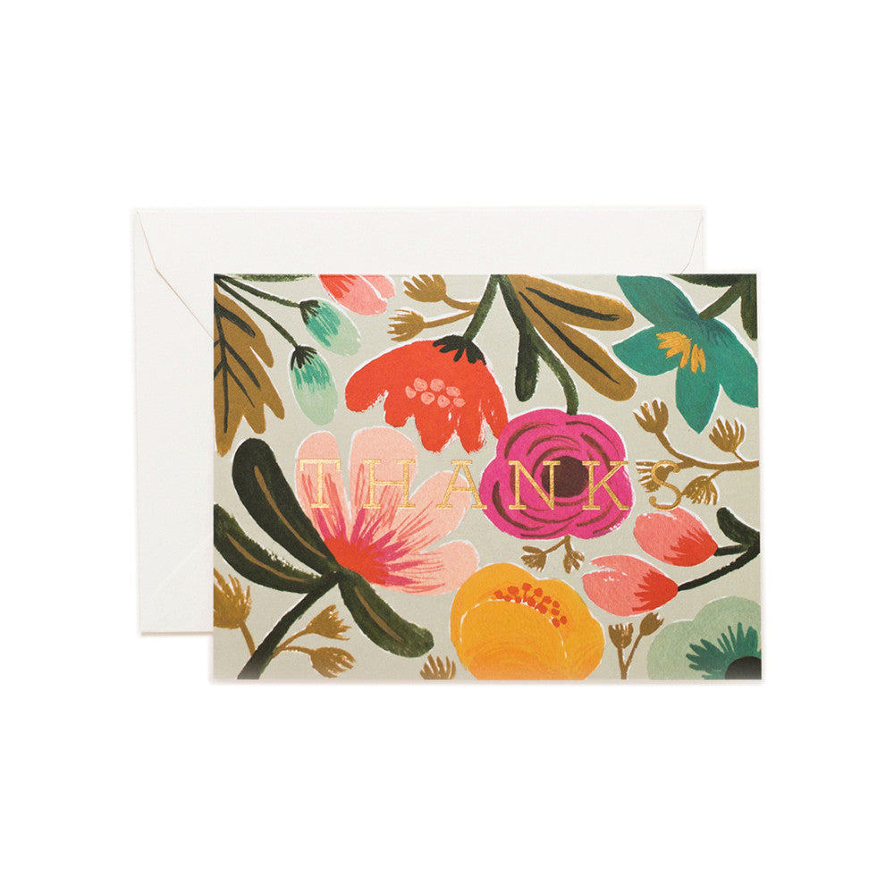 Thanks Floral Blank Note Card| Rifle Paper Co | Unusual Stationery | Collett & Holder