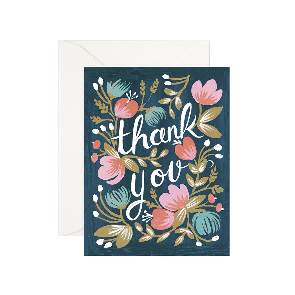 Thank You Floral Blank Note Card | Rifle Paper Co | Unusual Stationery | Collett & Holder