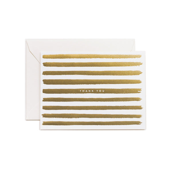 Thank You Gold Stripe Blank Note Card | Rifle Paper Co | Unusual Stationery | Collett & Holder
