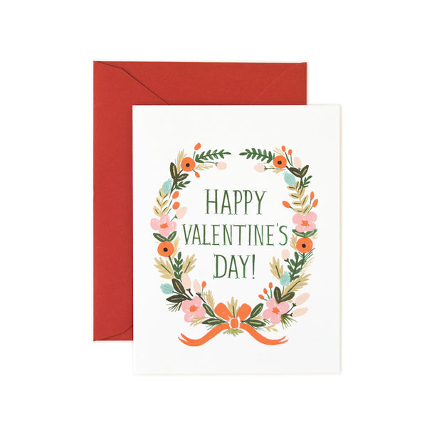 Happy Valentine's Day Floral Garland Note Card | Rifle Paper Co | Unusual Stationery | Collett & Holder