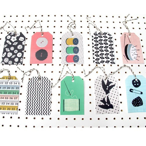 Sewing & Crafting Gift Tag Pack | Rosehip | Vintage Style Wrapping Paper | Collett & Holder