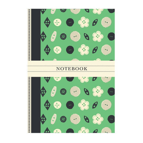 Vintage Green Button Print A6 Notebook | Rosehip | Vintage Style Stationary | Collett & Holder