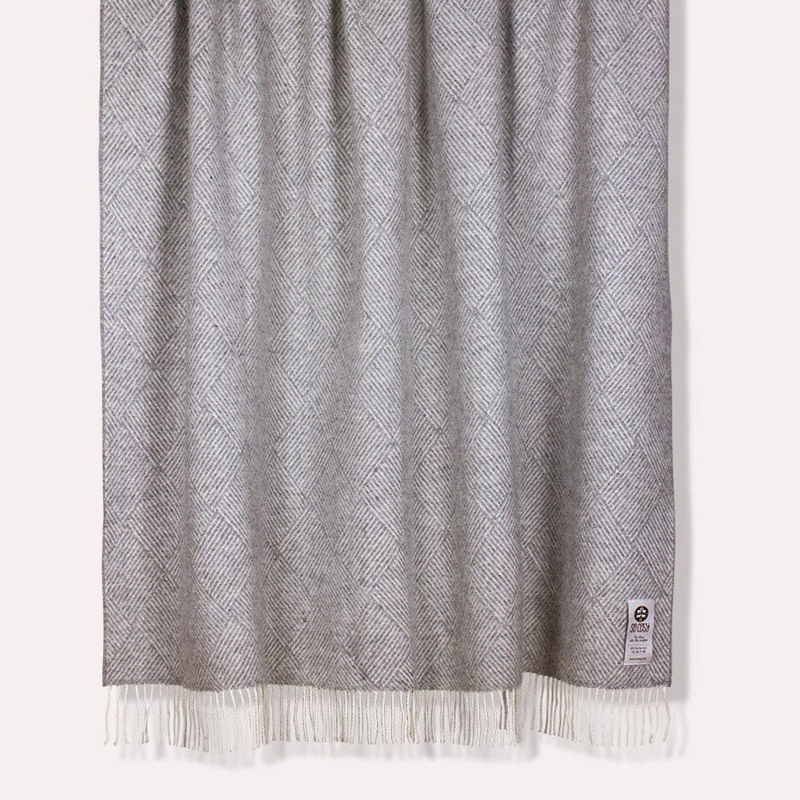 Rhombus New Wool Throw Grey | So Cosy | Throws & Blankets | Collett & Holder