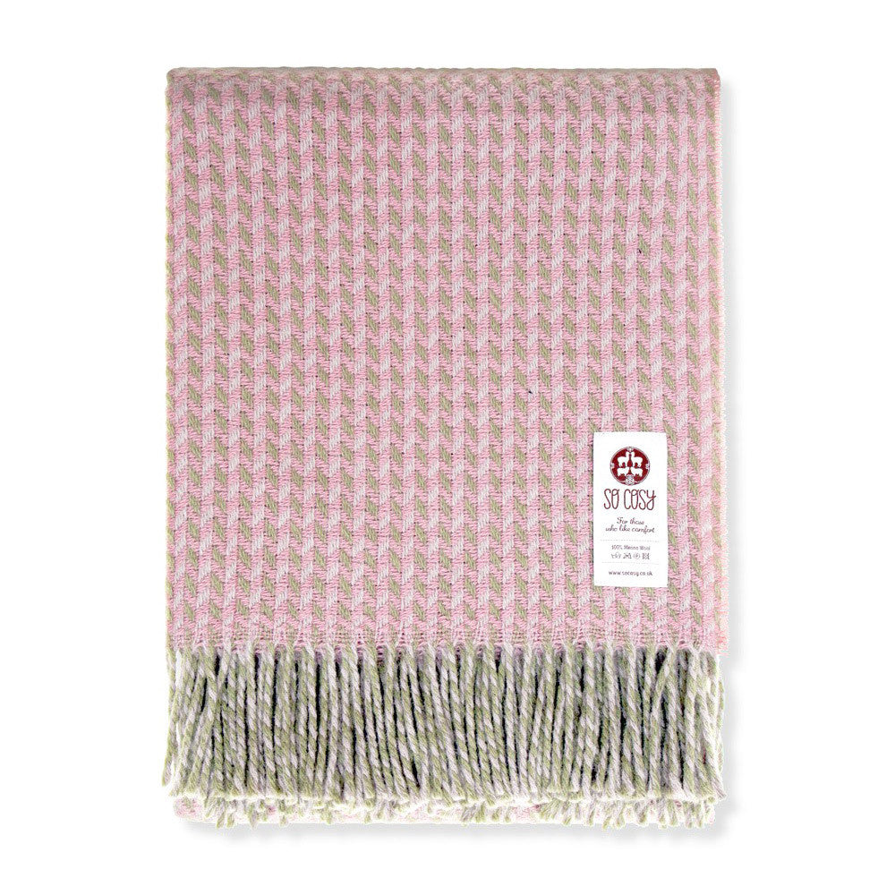Geometric Merino Wool Throw Green Pink | So Cosy | Luxury Throws & Blankets | Collett & Holder Gifted Living