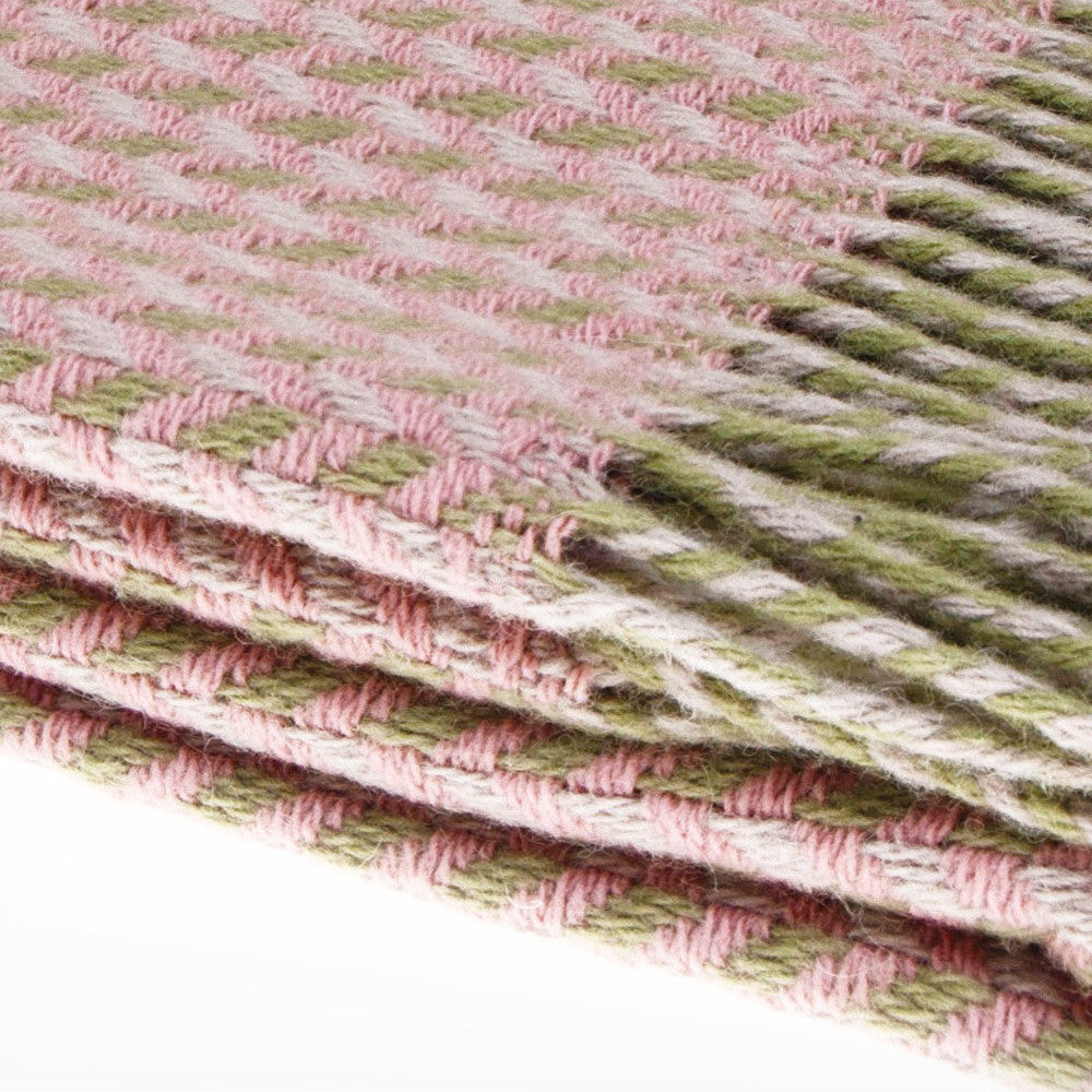 Geometric Merino Wool Throw Green Pink Detail | So Cosy | Luxury Throws & Blankets | Collett & Holder Gifted Living