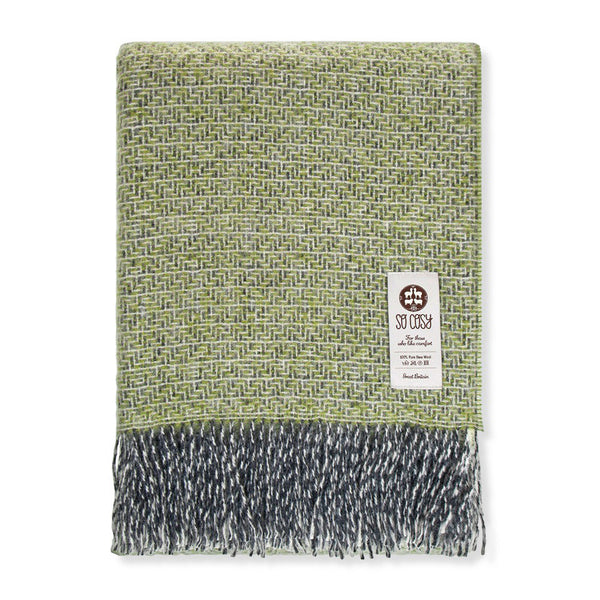 Aztec New Wool Throw Apple Green | So Cosy | Luxury Throws & Blankets | Collett & Holder - Gifted Living