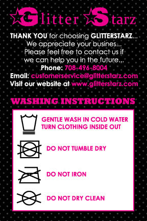 GlitterStarz Washing Instructions