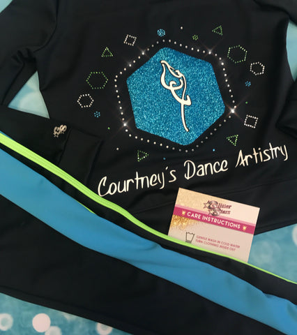 courtneys dance artistry warmup jackets bling vinyl glitter blue charcoal