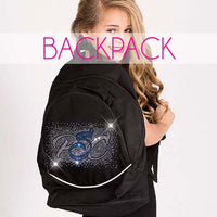 glitterstarz custom bling backpack black with rhinestone team logo for cheerleading dance
